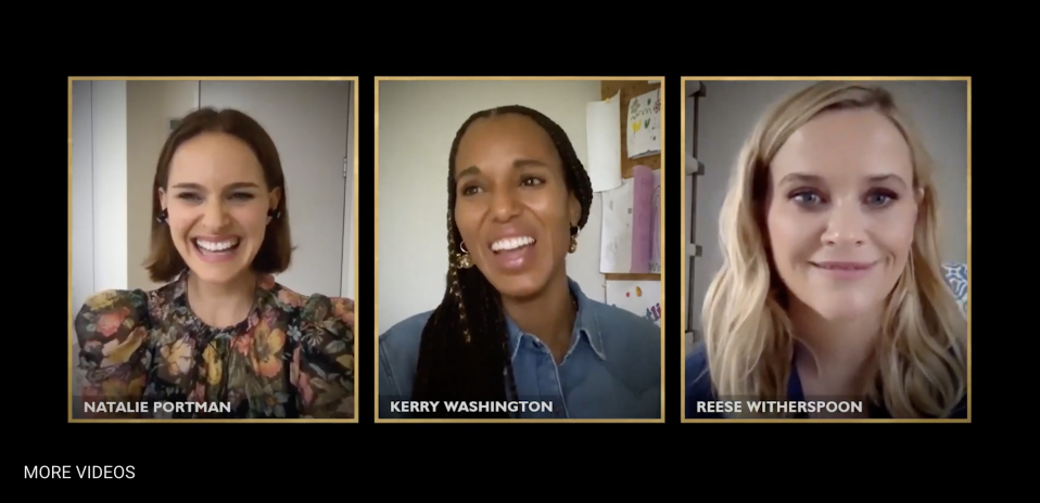 "(L to R) Natalie Portman, Kerry Washington and Reese Witherspoon participated in a Jan. 16 roundtable about the Hulu series ""Little Fires Everywhere."" (Screenshot: Hulu)"