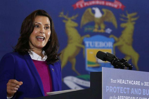 PHOTO: Gov. Gretchen Whitmer introduces Democratic presidential nominee Joe Biden at Beech Woods Recreation Center, Oct. 16, 2020, in Southfield, Mich. (Chip Somodevilla/Getty Images)