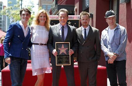 """Bryan Cranston and co-stars of """"Breaking Bad"""" pose during ceremonies to unveil Cranston's star on the Hollywood Walk of Fame"""