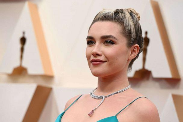 PHOTO: Florence Pugh arrives at the Oscars in Hollywood, Calif., Feb. 9, 2020. (Robyn Beck/AFP/Getty Images)