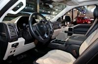 The interior of a new Ford 2020 F-Series Super Duty pickup truck is displayed in Detroit, Michigan, U.S., January 31, 2019. REUTERS/Rebecca Cook