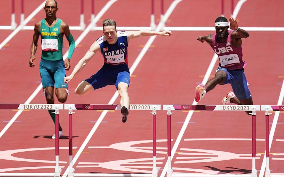 Karsten Warholm obliterated the world record in the 400m hurdles, while Rai Benjamin finished second - Shutterstock