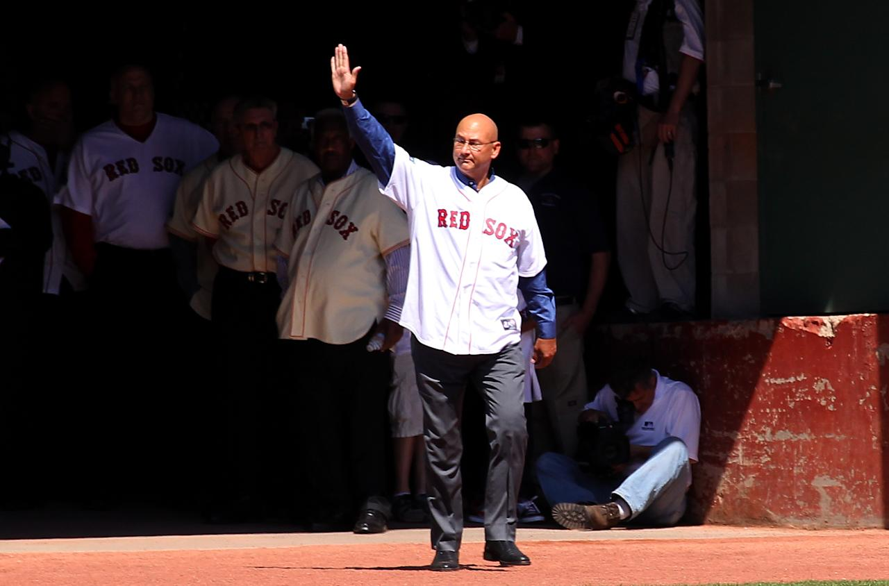 BOSTON, MA - APRIL 20:  Terry Francona, former manager of the Boston Red Sox, enters the field during 100 Years of Fenway Park activities before a game between the Boston Red Sox and the New York Yankees at Fenway Park April 20, 2012  in Boston, Massachusetts. (Photo by Jim Rogash/Getty Images)
