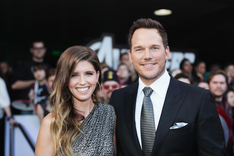 """LOS ANGELES, CA - APRIL 22:  (L-R) Katherine Schwarzenegger and Chris Pratt attend the Los Angeles World Premiere of Marvel Studios' """"Avengers: Endgame"""" at the Los Angeles Convention Center on April 23, 2019 in Los Angeles, California.  (Photo by Rich Polk/Getty Images for Disney)"""