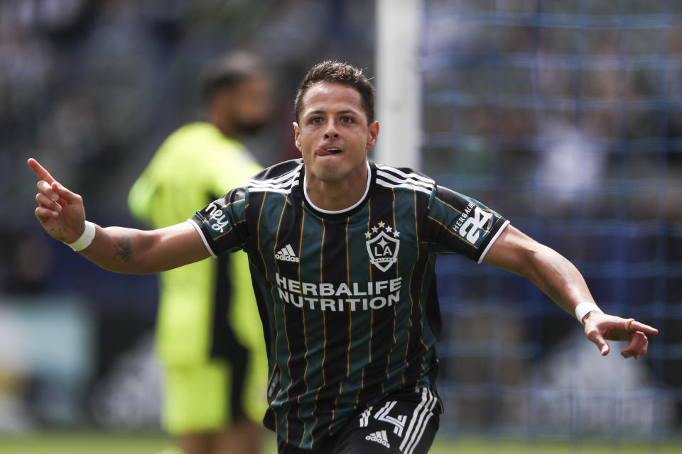 CARSON, CALIFORNIA - APRIL 25: Javier Hernandez #14 of Los Angeles Galaxy celebrates his goal in the first half against the New York Red Bulls at Dignity Health Sports Park on April 25, 2021 in Carson, California. (Photo by Meg Oliphant/Getty Images)