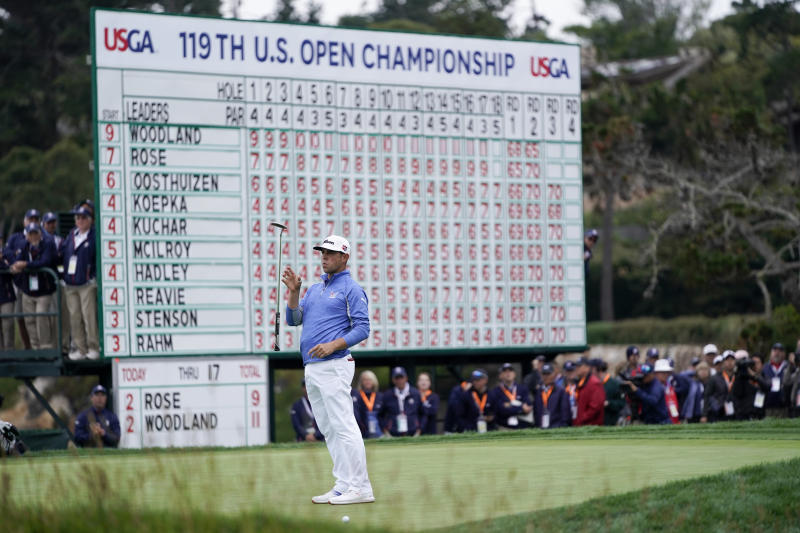 Gary Woodland reacts after missing a putt on the 18th hole during the third round of the U.S. Open Championship golf tournament Saturday, June 15, 2019, in Pebble Beach, Calif. (AP Photo/David J. Phillip)