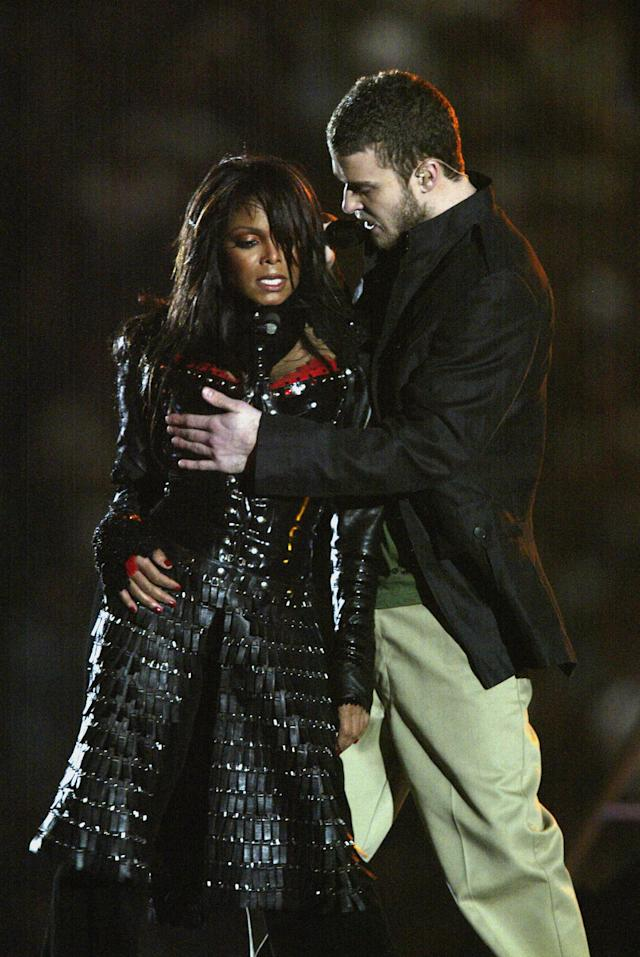 2004: Janet Jackson and Justin Timberlake were among the slate of performers at this year's Super Bowl halftime show. (Photo by Donald Miralle/Getty Images)