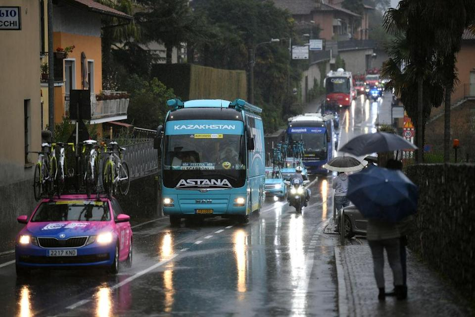 ASTI ITALY  OCTOBER 23 Cars  Race neutralised due to heavy rain and team riders protest  during the 103rd Giro dItalia 2020 Stage 19 a 258km stage from Morbegno to Asti  girodiitalia  Giro  on October 23 2020 in Asti Italy Photo by Tim de WaeleGetty Images