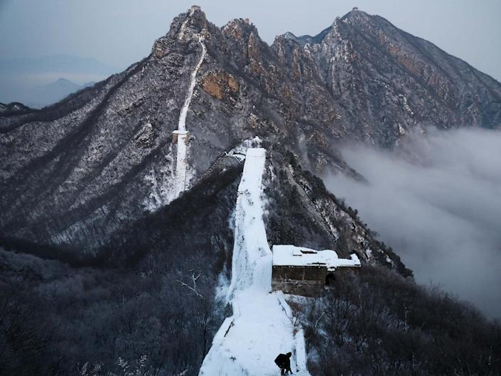 Snow covers the Jiankou Great Wall in the northwestern part of Beijing's Houairou district: Getty Images