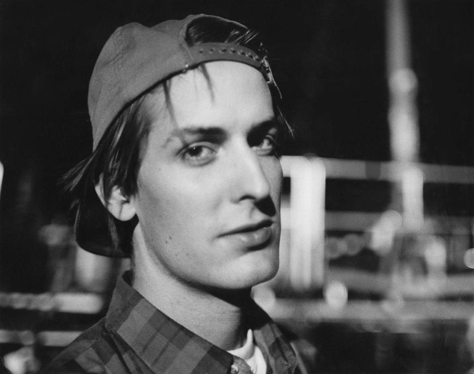 <p>Stephen Malkmus of Pavement holds still in dim light after the concert featuring Pavement, Mudhoney, and Sonic Youth on September 26, 1992 at Castaic Lake, California.</p>
