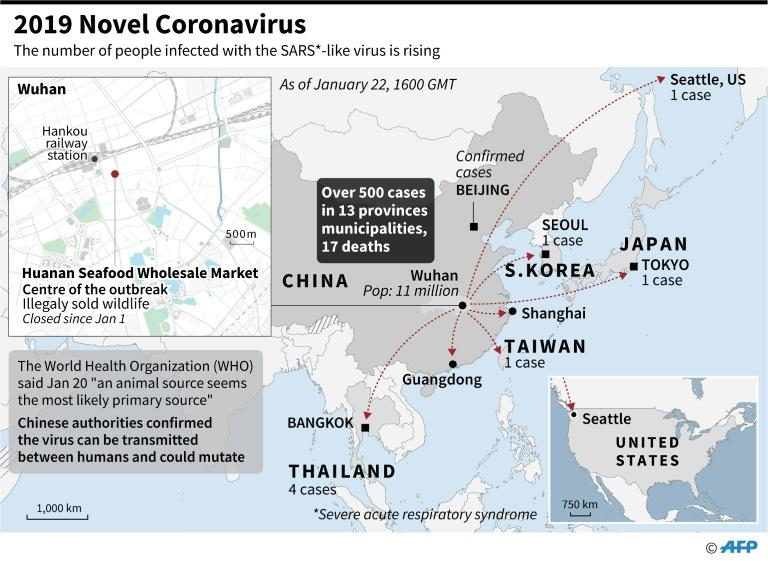 Regional map including China, Japan, Thailand, South Korea, and Wuhan Seafood Market, identified as the centre of an outbreak of a SARS-like virus