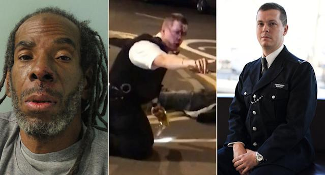 Rodwan, left, was found guilty yesterday for wounding PC Outten in an attack, centre. The officer spoke yesterday (right). (PA Images)