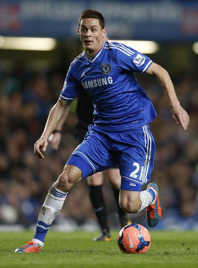 Chelsea's newly-signed player Nemanja Matic, controls the ball during an English FA Cup 4th round soccer match against Stoke City at the Stamford Bridge ground in London, Sunday, Jan. 26, 2014. Chelsea won the match 1-0. (AP Photo/Lefteris Pitarakis)