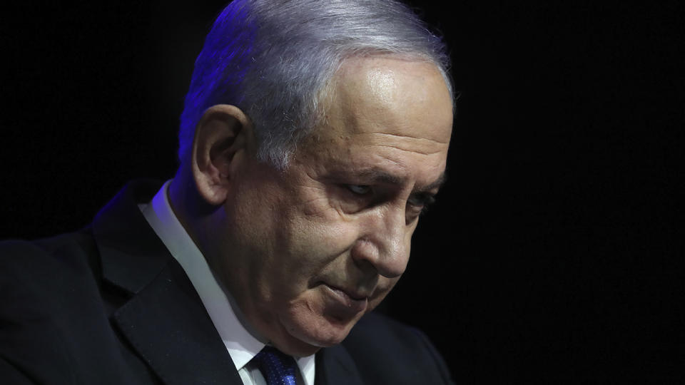 Israeli Prime Minister Benjamin Netanyahu speaks at a ceremony showing appreciation to the health care system for their contribution to the fight against the coronavirus, in Jerusalem, Sunday, June 6, 2021. (Ariel Schalit/AP)
