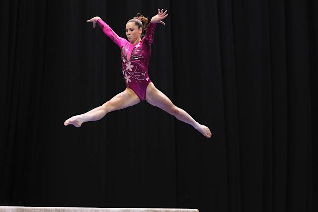 ST. LOUIS, MO - JUNE 8: McKayla Maroney competes on the balance beam during the Senior Women's competition on day two of the Visa Championships at Chaifetz Arena on June 8, 2012 in St. Louis, Missouri. (Photo by Dilip Vishwanat/Getty Images)
