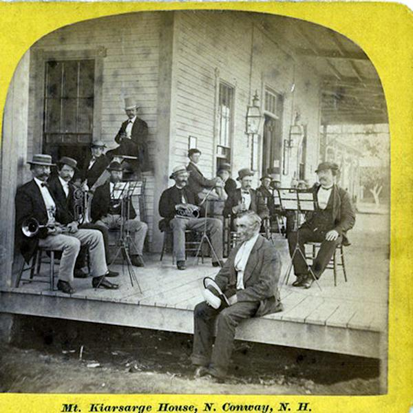 In this undated handout photo provided by Rick Russack of White Mountain History a band poses for a photo at the Mt. Kearsarge House in North Conway, N.H. More than a century after orchestras at New Hampshire's grand hotels played music composed especially for them, Plymouth State University is bringing back some of the long-lost tunes. (AP Photo)