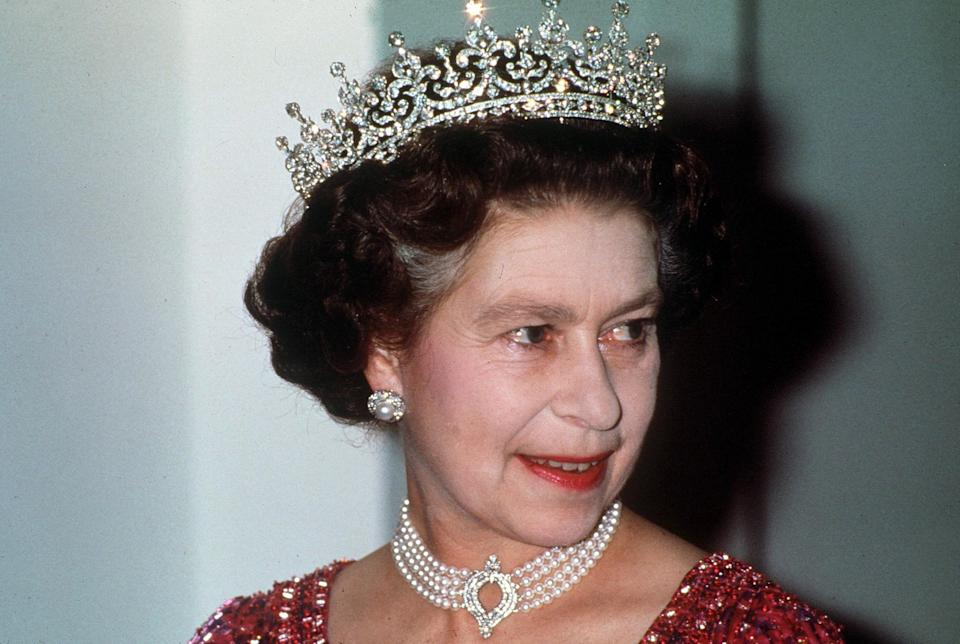 The Queen pictured wearing the necklace during a state visit to Bangladesh in 1983.John Shelley/Shutterstock