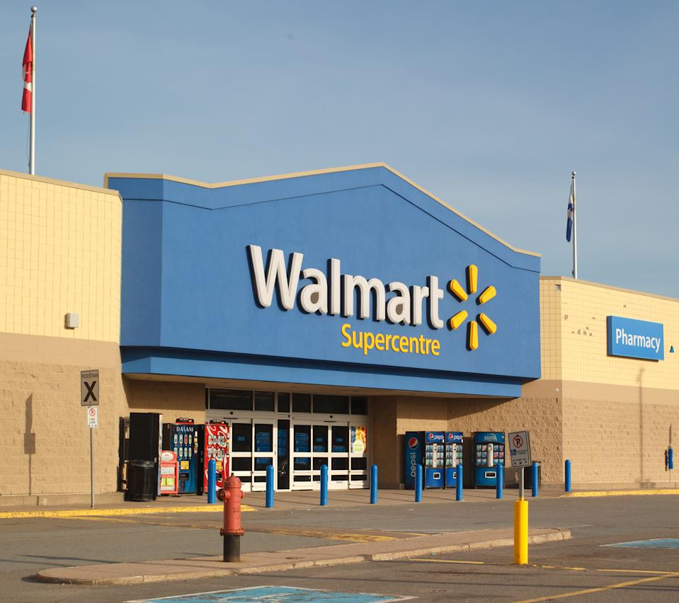 Truro, Canada - June 12, 2017: Walmart storefront. Walmart is an American orporation with chains of department and warehouse stores. There are more than 11,000 stores in 27 countries.