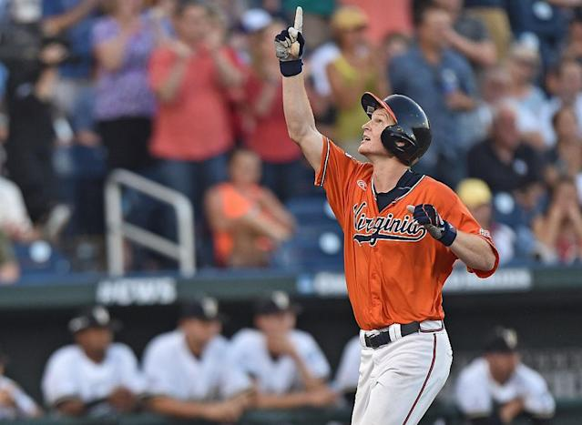 Pavin Smith in the College World Series. (Getty)