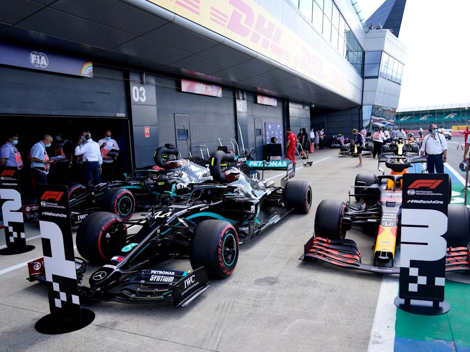Lewis Hamilton will start the British Grand Prix at Silverstone from pole position: Getty