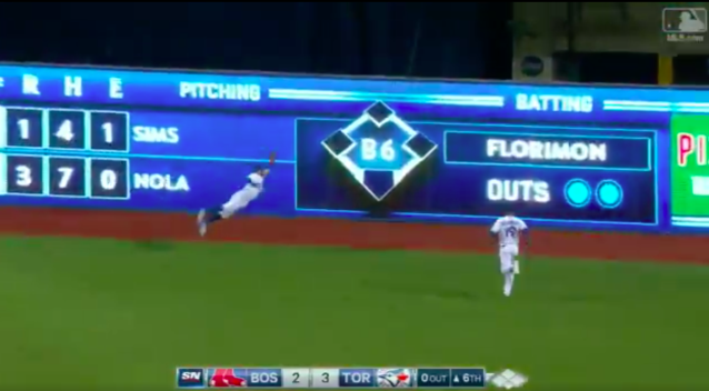 Kevin Pillar went airborne for another great catch. (Screenshot via MLB.com)