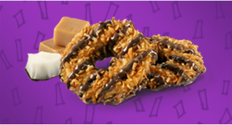<p>Whatever you want to call these chocolate-caramel numbers, there's no denying that they are second only to (<strong>spoiler alert lol</strong>) the iconic Thin Mint. The crunchy coconut and flaky wafer cookie only add to its beautiful, ringed appeal. </p>