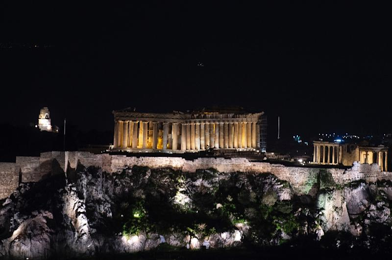 A bolt of lightning struck the Acropolis in Athens, hitting two tourists and two Greeks working at a ticket booth at the site