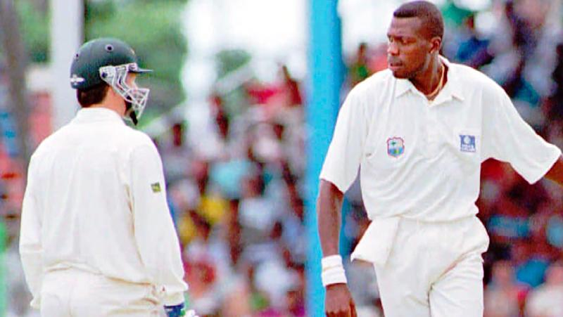 Steve Waugh and Curtly Ambrose, pictured here in ugly scenes in 1995.