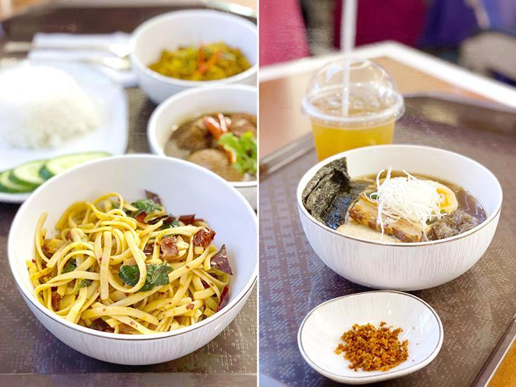 Who says airline food has to be boring? Try some spicy pasta (left) or some Japanese ramen (right).