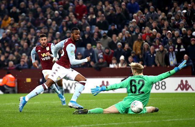 Kodjia then struck twice in the final eight minutes of the half to seal the result. (Photo by Tim Goode/EMPICS/PA Images via Getty Images)