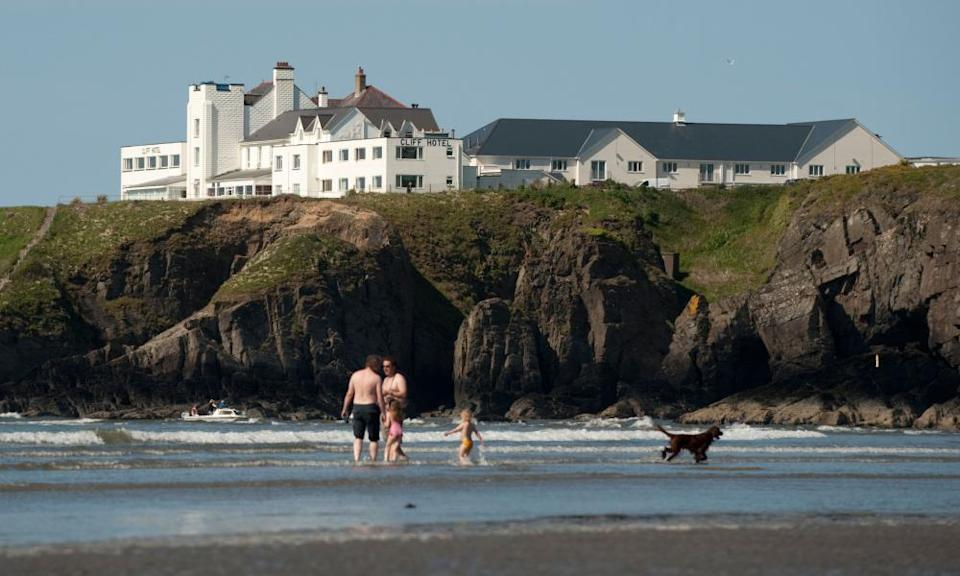 The Cliff Hotel seen from the beach at Poppit Sands in Pembrokeshire.