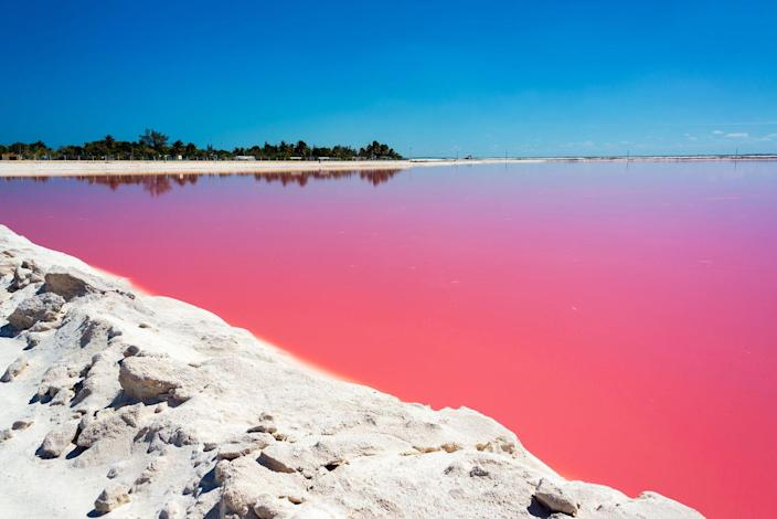 <p>The water of Las Coloradas Lake in Rio Lagartos, Mexico gets its pink color from the algae and shrimp that inhabit the region. </p>