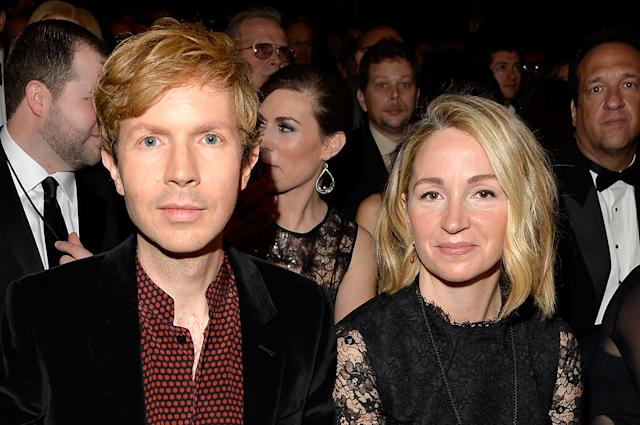 LOS ANGELES, CA - FEBRUARY 08: Musician Beck (L) and actress Marissa Ribisi during The 57th Annual GRAMMY Awards at the STAPLES Center on February 8, 2015 in Los Angeles, California. (Photo by Lester Cohen/WireImage)