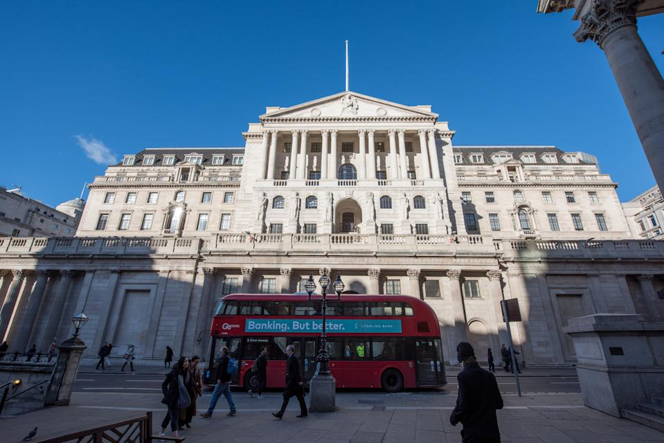 "LONDON, ENGLAND - JANUARY 28: A general view of the Bank of England with a London bus passing by with an advertising billboard saying ""Banking but Better""on a clear sunny day  on January 28, 2019 in London, England. (Photo by John Keeble/Getty Images)"