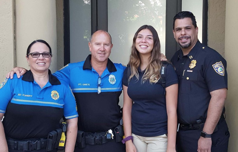Officers with the Miami Beach Police Department escorted an eighth-grader to her first day of school in place of her late father, who passed away last year. (Photo: Facebook)