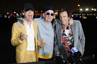 <p>Mick Jagger, Keith Richards and Ronnie Wood of The Rolling Stones field questions from reporters ahead of their No Filter tour in Inglewood, California on Oct. 11.</p>