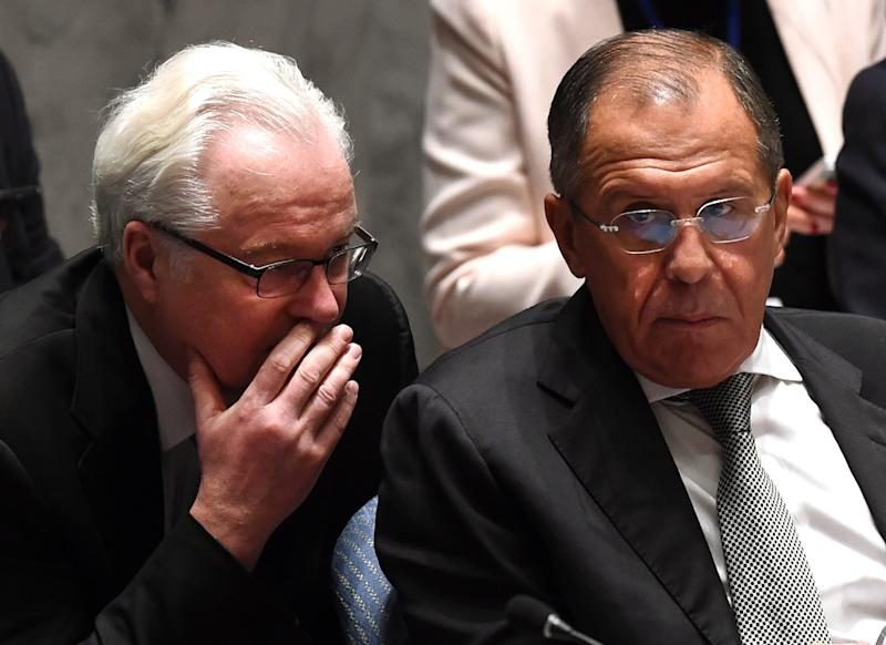 Russian Foreign Minister Sergei Lavrov and Russian ambassador to the United Nations Vitaly Churkin (L) (AFP Photo/Timothy A. Clary)
