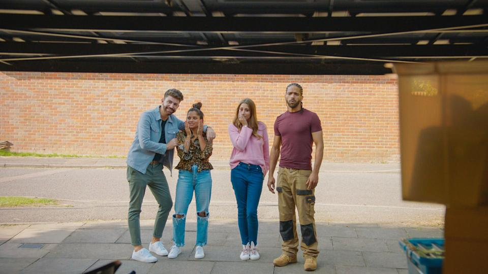 Iwan Carrington, Dilly Carter, Stacey Solomon, Robert Bent review the Cherrett-Yaku family's cluttered garage  (Optomen Television Ltd)