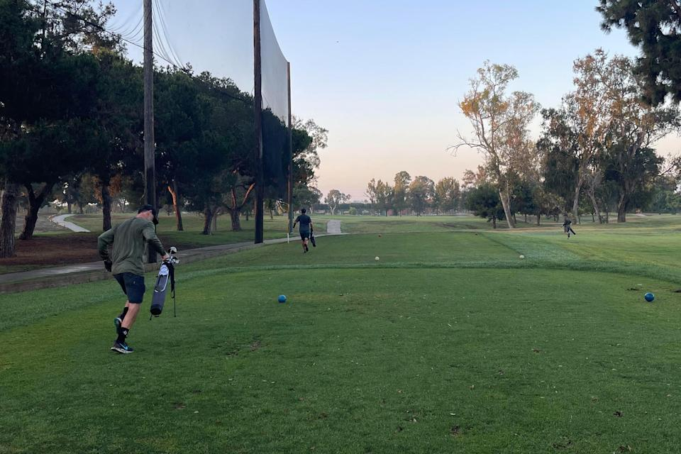 a foursome playing speedgolf in LA