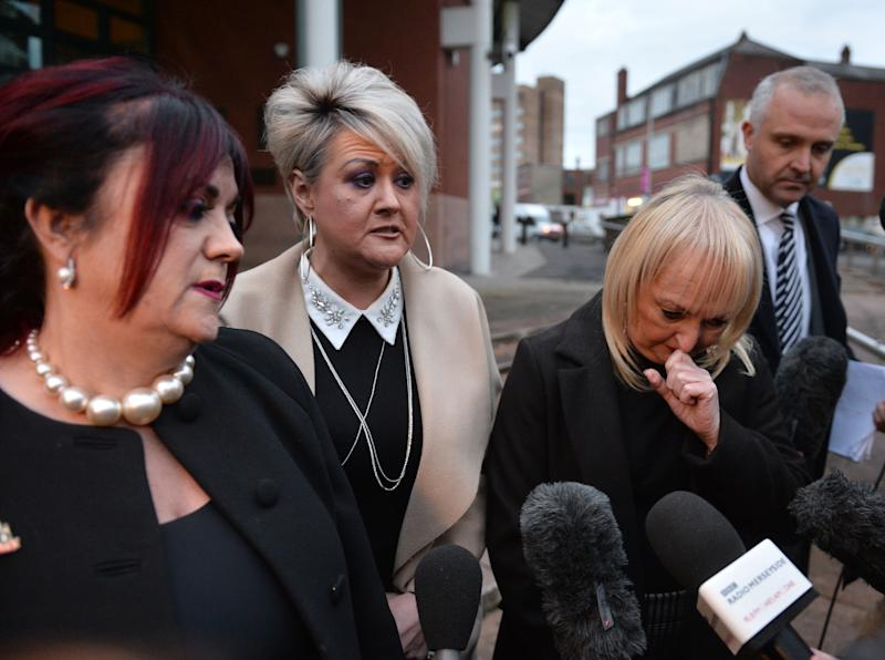 (left to right) Christine Burke the wife of victim Henry Thomas Burke, Louise Brookes the sister of victim Andrew Brookes and Jenni Hicks whose two daughters died in the disaster speaking outside at Preston Crown Court after the trial of Hillsborough match commander David Duckenfield, who has been found not guilty of the gross negligence manslaughter of 95 Liverpool fans who died at the 1989 FA Cup semi-final.