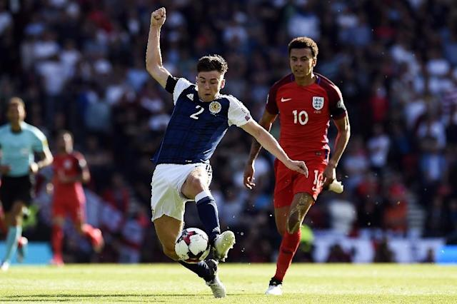 Scotland's defender Kieran Tierney controls the ball during the group F World Cup qualifying football match against England in Glasgow on June 10, 2017 (AFP Photo/ANDY BUCHANAN)