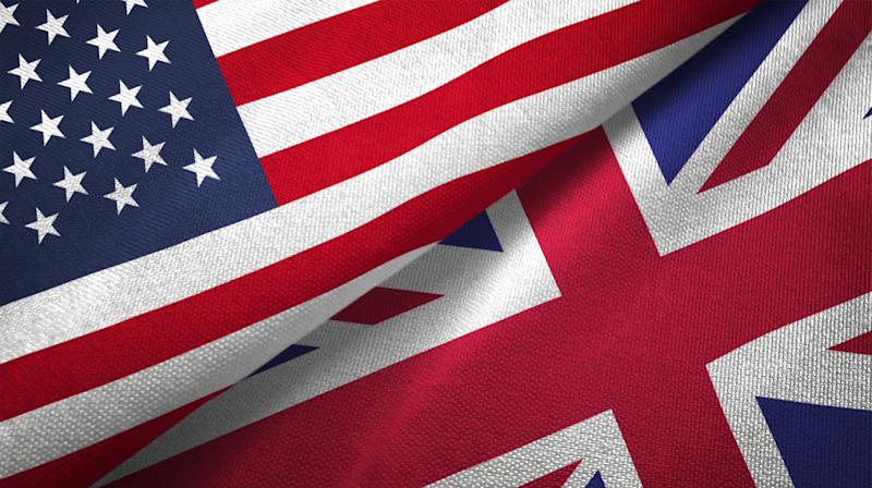 United Kingdom and United States flags together realtions textile cloth fabric texture