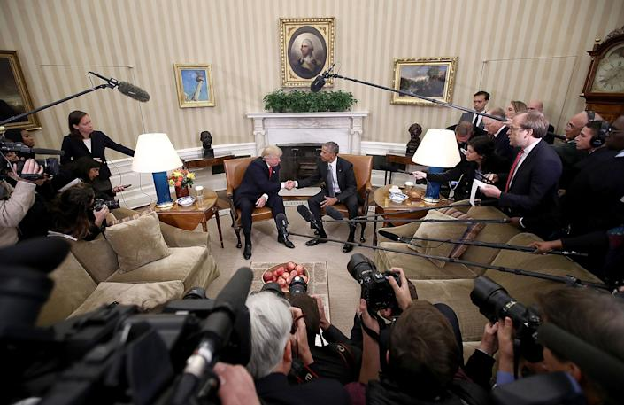 <p>President Obama shakes hands with President-elect Donald Trump following a meeting in the Oval Office on Nov. 10, 2016, in Washington, D.C. (Win McNamee/Getty Images) </p>