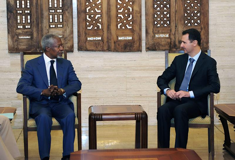 This photo released by the Syrian official news agency SANA, shows United Nations-Arab League special envoy to Syria Kofi Anan, left, meeting with Syrian President Bashar Assad in Damascus, Syria, Monday, July 9, 2012. International envoy Annan raised hopes of a revived peace effort in Syria, saying he has reached a framework with President Bashar Assad and would hold talks with rebel leaders. (AP Photo/SANA)
