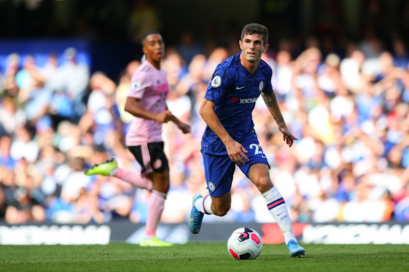 LONDON, ENGLAND - AUGUST 18: Christian Pulisic of Chelsea in action during the Premier League match between Chelsea FC and Leicester City at Stamford Bridge on August 18, 2019 in London, United Kingdom. (Photo by Craig Mercer/MB Media/Getty Images)