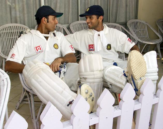 VVS Laxman (left) and Rahul Dravid of India reflect on their record breaking partnership, after day four of the 2nd Test between India and Australia played at Eden Gardens, Calcutta, India. X DIGITAL IMAGE  Mandatory Credit: Hamish Blair/ALLSPORT