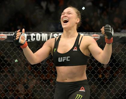 Ronda Rousey reacts after defeating Cat Zingano in February. (USA TODAY Sports)