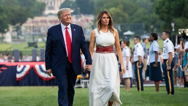 PHOTO: President Donald Trump and first lady Melania Trump host the 2020 'Salute to America' event in honor of Independence Day on the South Lawn of the White House in Washington, D.C., July 4, 2020. (Saul Loeb/AFP via Getty Images)