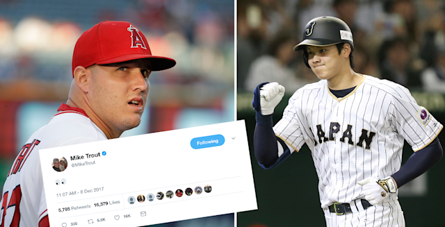 "It's safe to say that <a class=""link rapid-noclick-resp"" href=""/mlb/players/8861/"" data-ylk=""slk:Mike Trout"">Mike Trout</a> is pretty excited that Shohei Ohtani is signing with the Angels. (AP)"