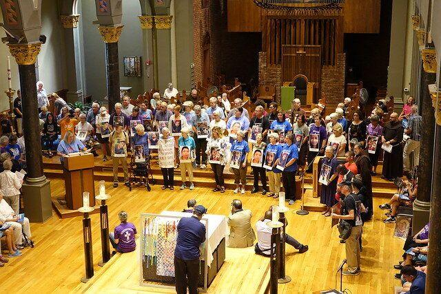 Catholics gather atSt. Mary's Church in Newark, New Jersey, for a meeting before marching to the city's Federal Building. (Photo: Ignatian Solidarity Network)